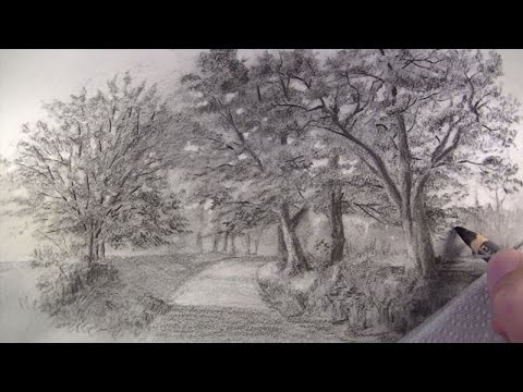 How To Draw With Charcoal Pencils Landscape Sketching