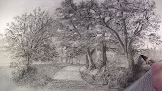 How to Draw with Charcoal Pencils - Landscape Sketching