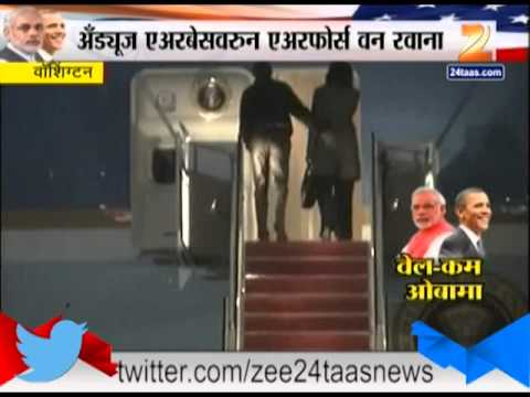 Washington American President Barak Obama Moved To India From Air Force One