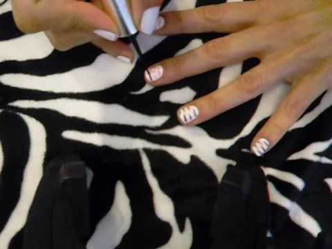 Pink and Black Zebra Stripe Nails Video