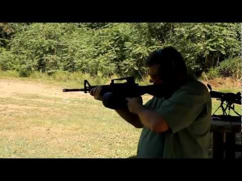 AR-15 Slide Fire with 100 round mag and .308