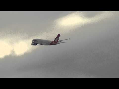 Qantas Airlines A380-800 spotted at Tempe after takeoff from 34L at Sydney Airport HD