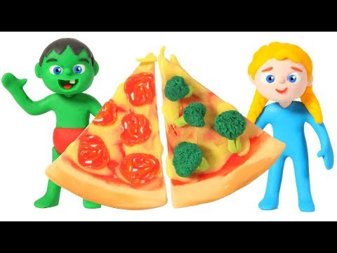 KIDS MAKING HEALTHY PIZZAS ❤ Play Doh Cartoons For Kids