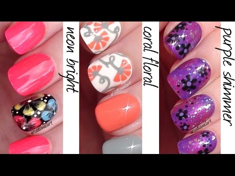 Flowers 3 Ways! - Easy Nail Art for Beginners | ArcadiaNailArt
