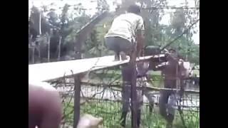 Bangladeshi crossing over to India. India Bangladesh border