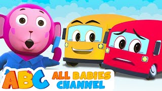 Five Little Buses Jumping On The Road   All Babies Channel   3D Nursery Rhymes For Kids