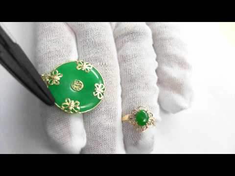 0 Jade Ring and Pendant   14k Jewelry Suite