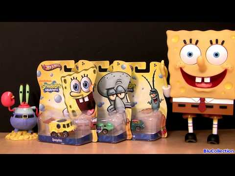 Spongebob Squarepants Diecast Cars Hot Wheels Squidward Plankton 2013 Mattel Nickelodeon Toys video