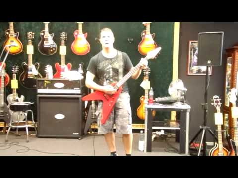 Jeff Waters playing Annihilator alison Hell at guitar demo in Witten Germany 17-08-2012