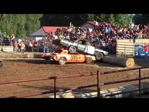 This was the start of the first heat of at the Sanders County Fair demolition derby. In Plains Mt. The orange car had made the front of his car like a wedge!...