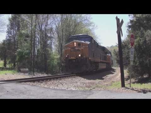 CSX: fast moving train crossing the trestle in Enoree SC (04...