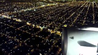 Airbus 318 landing at night in Buenos Aires, Aeroparque - LAN Airlines LA461 SCL-AEP