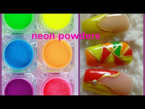 Neon pigment powder sample nail art