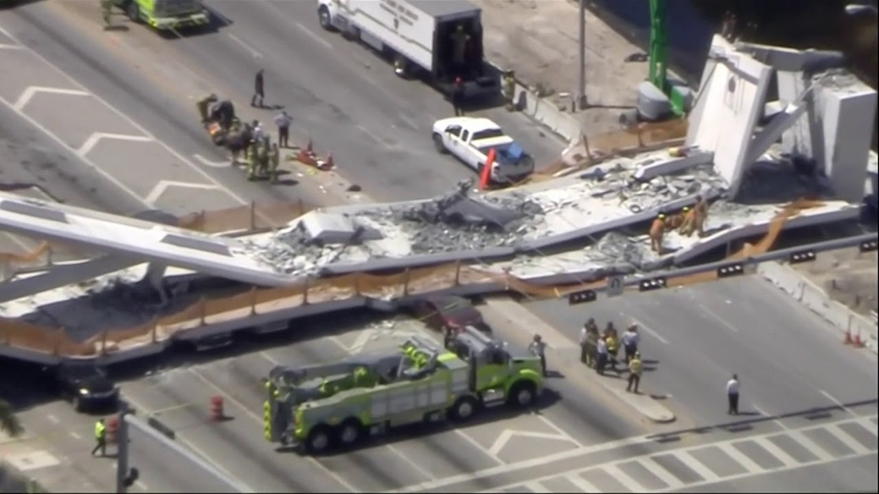 At least 4 killed after pedestrian bridge collapses in Florida