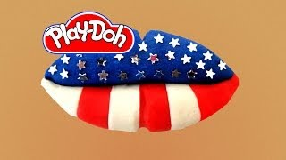 How to make Lip Art US Flag out of Play Doh Play-Doh Craft N Toys