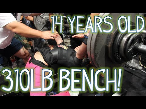 14 Year Old Girl Bench Presses 310lbs! (140kg) video