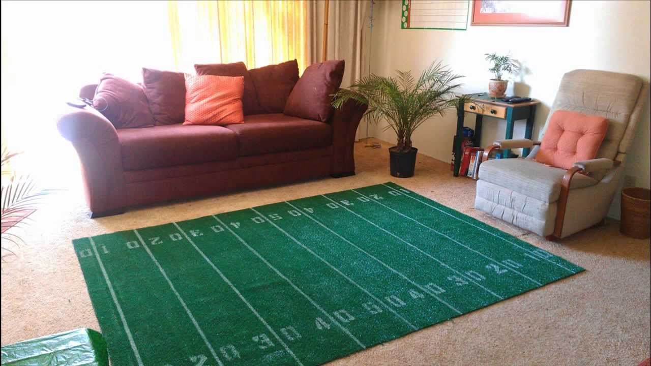 Man Cave Artificial Turf : How to make a super bowl football field area rug diy