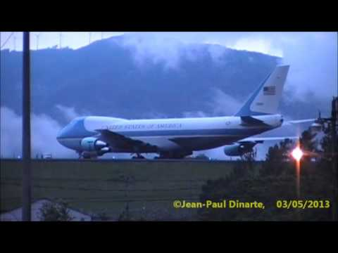 Air Force One (Boeing 747-200B) Aterrizaje y estacionamiento en MROC / SJO