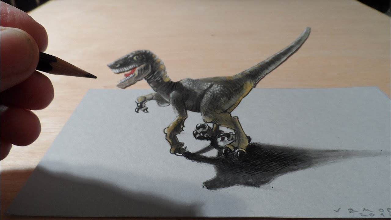 How I Drew A 3D Raptor Anamorphic Illusion YouTube