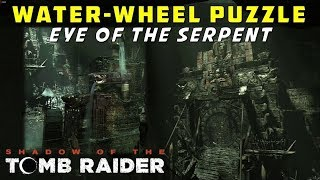 How to Solve the Water-Wheel Puzzle & Open the Gate (Eye of the Serpent) - SHADOW OF THE TOMB RAIDER