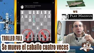 Stockfish 9 TROLLEA en la apertura con 4 movimientos de Caballo a APP Play Magnus [Carlsen 27 años]