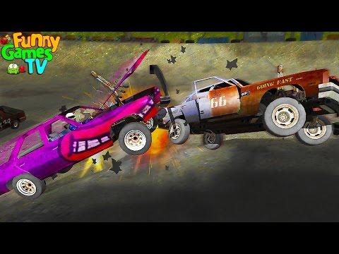 Мультик для детей про машинки Столкновение и аварии машин в безумной гонке Игра Demolition Derby