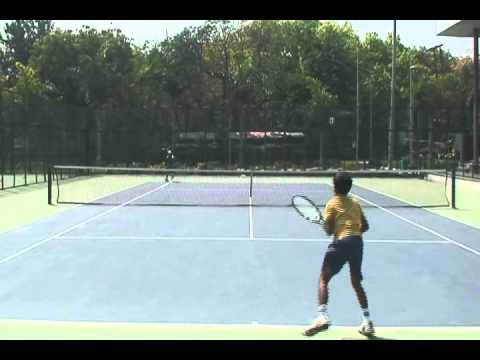 10 year old tennis player Abhimanyu Vannemmreddy practicing in New Delhi (March 2011)