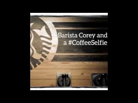 Short Short Film -- BARISTA COREY AND A #COFFEESELFIE (simple funny coffee shop video at Starbucks)