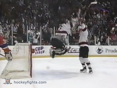 Martin Brodeur goal against Canadiens in Playoffs Apr 17, 1997