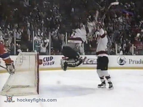 Martin Brodeur goal against Canadiens in Playoffs Apr 17, 1997