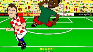 ALEX SONG'S ELBOW Cameroon v Croatia 0-4 by 442oons (World Cup Cartoon 18.6.14)