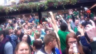 Irish fans celebrate Robbie Brady's goal in Dublin. France vs Ireland 0-1 (Euro 2016)