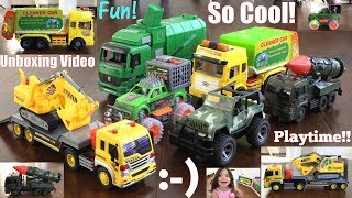 Friction Powered Toy Cars! Garbage Truck Toys, Army Missile Truck, Construction Truck and More