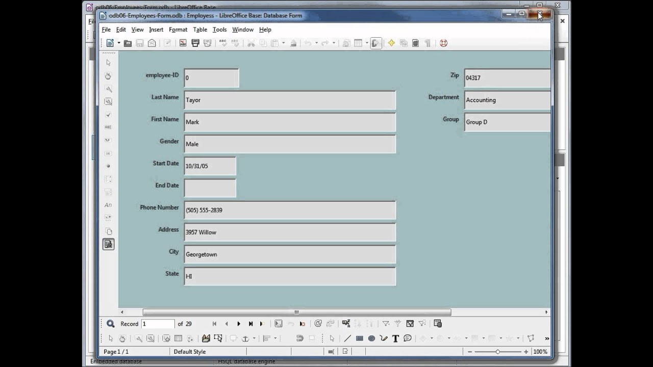 Libreoffice base open form for Open office database templates