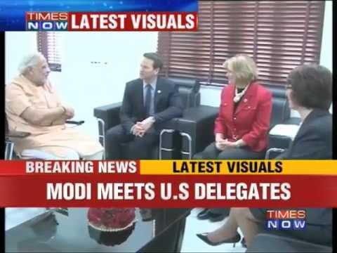 Gujarat CM Narendra Modi meets US delegates.