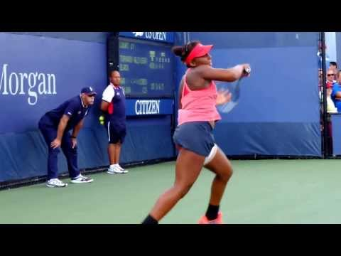 Tornado Alicia Black Serving and Making the Point at US Open Junior Girls' Tennis Championship Game