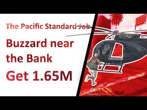 A Buzzard next to The Pacific Standard Bank doors + All Money | GTA Online