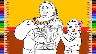 Moana Parents Coloring Pages | Chief Tui And Sina Coloring | Coloring For Girls | Dino Coloring