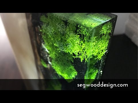 Epoxy L.E.D. Lamp - poplar wood, clear epoxy with black epoxy background