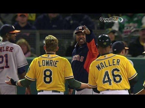 HOU@OAK: Astros confront Lowrie on unwritten rule