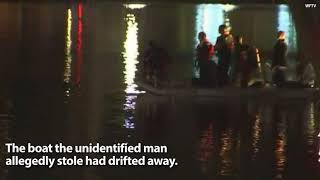 VIDEO;  Man Stranded on Lake Fountain After Swan Boat Takes Off