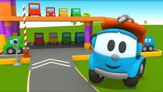 Léo o caminhão curioso. Um estacionamento. Animação infantil.