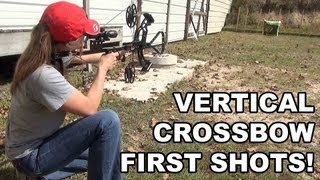 Bullpup Vertical Crossbow! First Shots with Hickory Creek