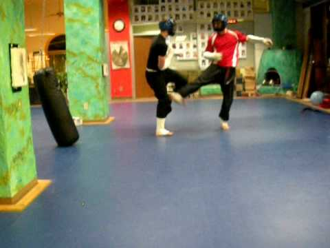 Fast paced kung fu sparring match Image 1