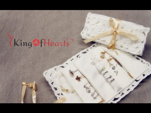 KingOfHearts Travel Lace Jewelry Roll Case for Organizer and Storage