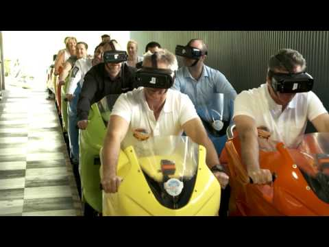 Mick Doohan rides Motocoaster with VR - Dreamworld VR roller coaster