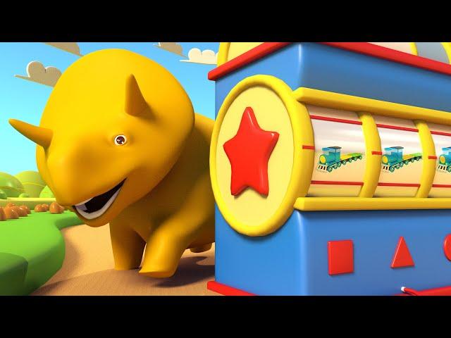NAUKA KSZTAŁTÓW: Zabawa pociągami! - ucz się z Dino dinozaurem