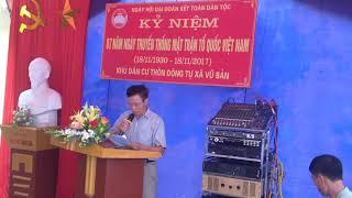 Bài phát biểu của ông Bí thư chi bộ thôn Đông tự trong ngày hội đại đoàn kết toàn dân