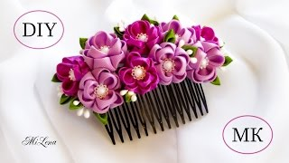 ГРЕБЕНЬ КАНЗАШИ, МК / DIY Kanzashi Hair Comb