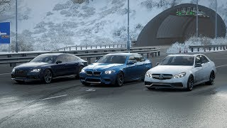 Forza Horizon 4 Drag race: Mercedes-Benz E63 AMG vs BMW M5 vs Audi RS7